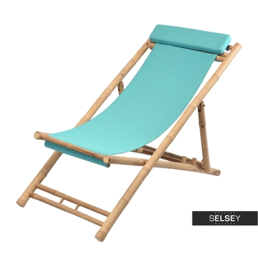 BAMBOU Chaise transat turquoise