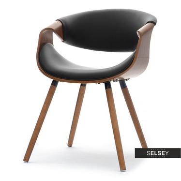 BENTIAL Chaise tapissée noir / noyer