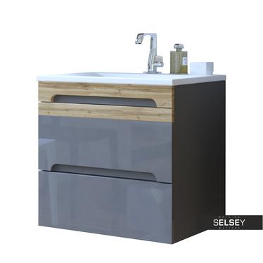 WARNER Meuble sous lavabo gris 60 cm