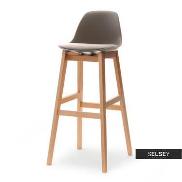 ELMO Chaise de bar scandinave brune pieds en bois