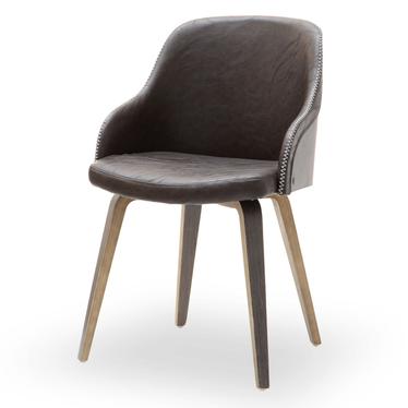 ALMOND Chaise en bois de chêne fumé / similicuir marron
