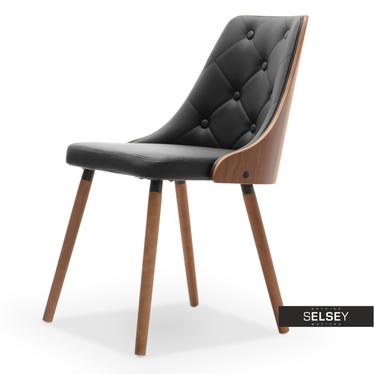 MAGNUM Chaise en bois noyer / similicuir noir