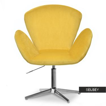 SWAN Fauteuil de bureau pivotant en velours jaune