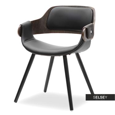 TWIG Chaise design chêne fumé / similicuir noir