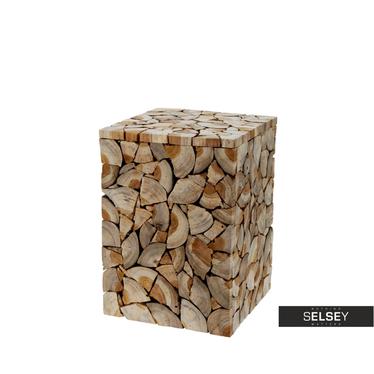WOODPECKER Tabouret décoré de tranches de bois 40 cm