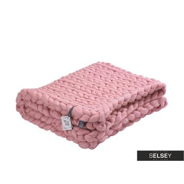 MERINO WOOL Plaid en laine mérinos rose pâle