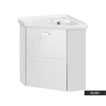 MARBELLA Meuble sous lavabo d'angle blanc 40 cm