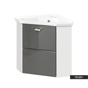 MARBELLA Meuble sous lavabo d'angle gris 40 cm