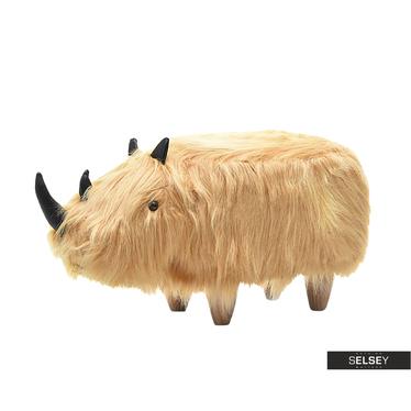 Tabouret enfant Rhinocéros roux poilu