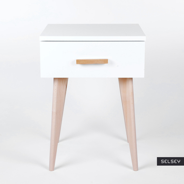 SICILE Table de chevet scandinave blanche