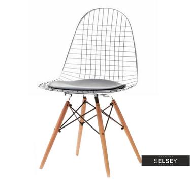 MPC WIRE ROD Chaise en acier / pieds en bois