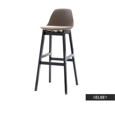 ELMO Chaise de bar scandinave brune pieds en bois noir