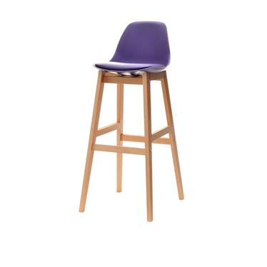 ELMO Chaise de bar scandinave violette pieds en bois