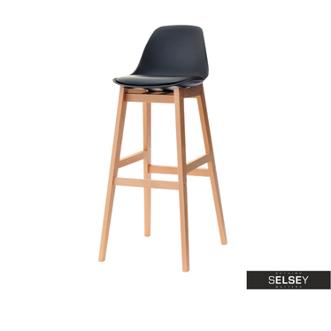 ELMO Chaise de bar scandinave noire pieds en bois