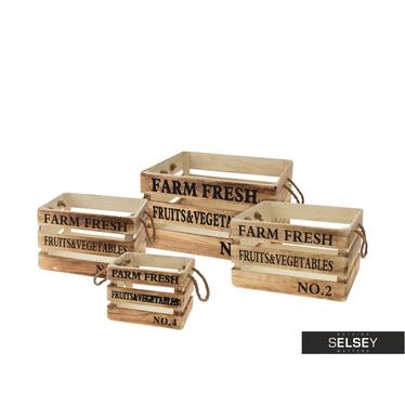 4 boîtes de rangement en bois marron