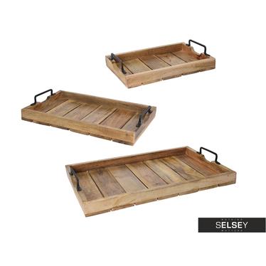 RUSTIQUE Ensemble de trois plateaux en bois