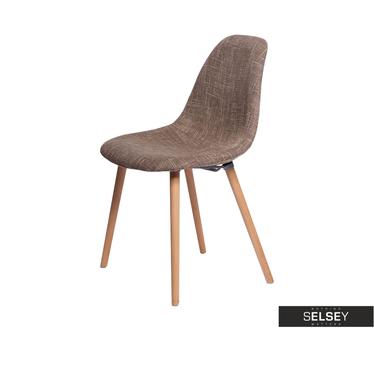 COSY Chaise salon tapissée brune
