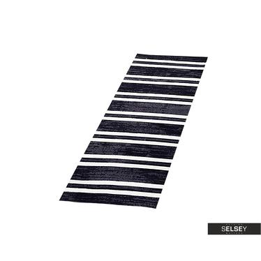 BOHEMIAN Tapis en coton effet usé noir / blanc