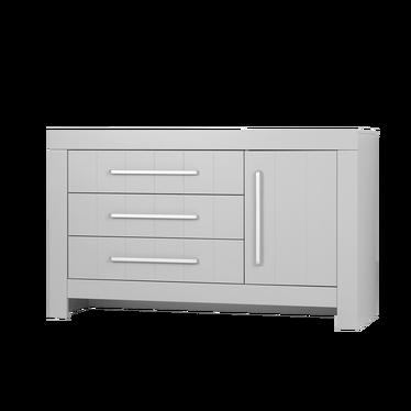 CALMO Commode 1 porte 3 tiroirs gris