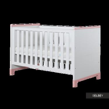 MINI Lit bébé évolutif 70x140 cm blanc et rose