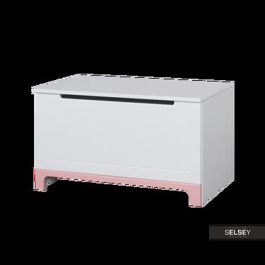 MINI Coffre à jouets blanc et rose