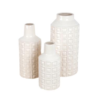 Set de 3 vases à fleurs en céramique beige