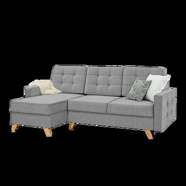 Velvet canapé d'angle gris Sawana 21