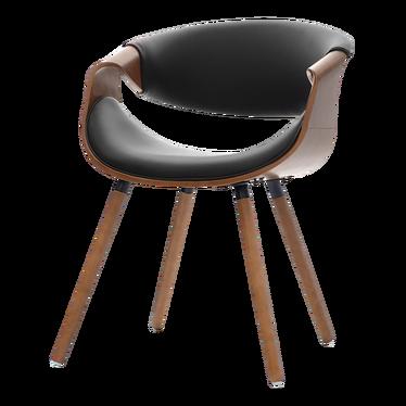 BENTE Chaise tapissée noir / noyer