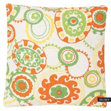 COLOUR JAM coussin menthe et orange 45 x 45 cm