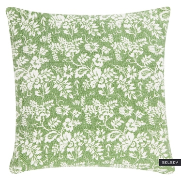 JARDIN DE FLEURS coussin vert 45 x 45 cm