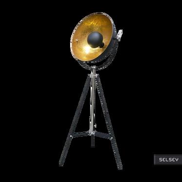 GRAVITY lampadaire design noir avec l'intérieur d'or