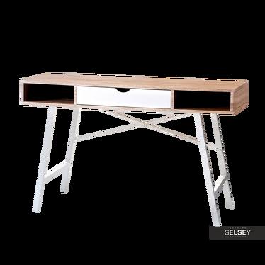 LOREN Bureau scandinave blanc / chêne avec tiroir
