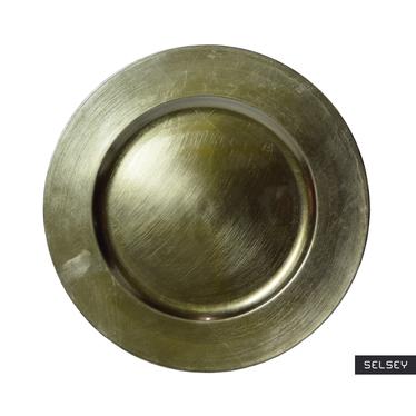 Assiette de présentation verte olive métallique 33 cm