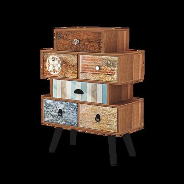 PATCHWORK Cabinet de rangement vintage 6 tiroirs