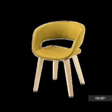 HANNAH Chaise jaune / bois courbé