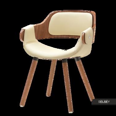 TWIG Chaise design noyer / similicuir crème