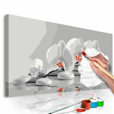 ORCHIDÉE EN BLANC ET GRIS Tableau à peindre soi-même