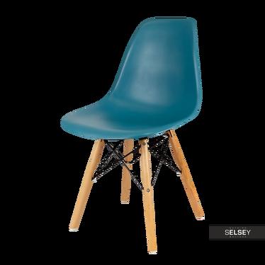BASIC Chaise scandinave bleu pétrole pieds hêtre