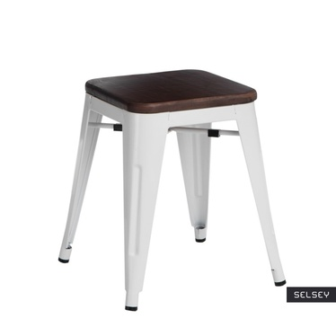 PARIS WOOD Tabouret en métal blanc / noyer