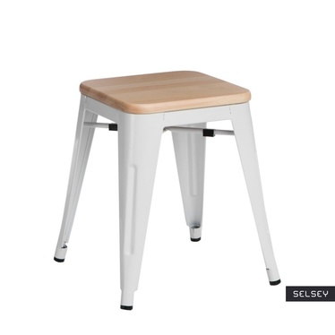 PARIS WOOD Tabouret en métal blanc / pin naturel