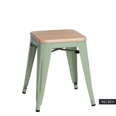 PARIS WOOD Tabouret métal vert / pin naturel