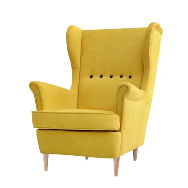 MALMO Fauteuil à oreilles jaune style contemporain