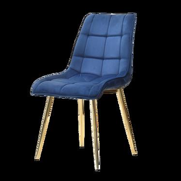 OLSEN Chaise matelassée bleu marine pieds or
