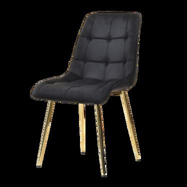 OLSEN Chaise matelassée noir pieds or