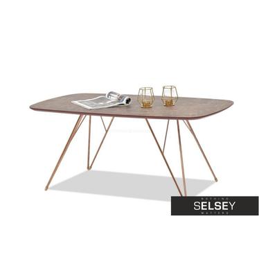 RUBIS Table basse en marbre marron et en cuivre 110x60 cm