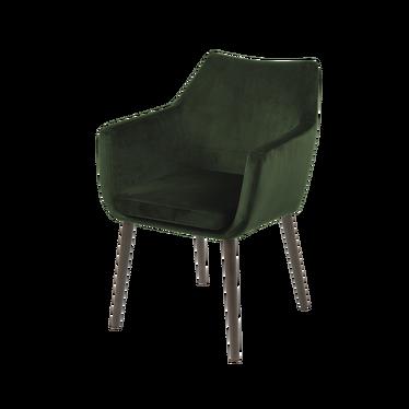 ALBIS Chaise tapissée vert / pieds bois