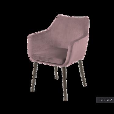 MARCELIO Chaise tapissée velours rose / pieds bois