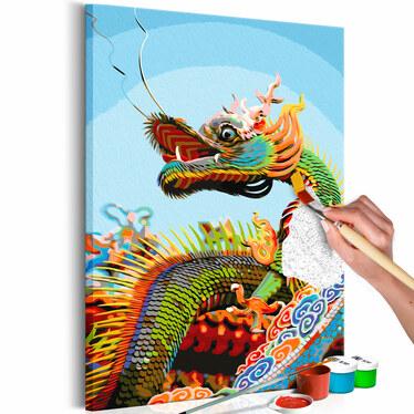 DRAGON MULTICOLORE Tableau à peindre soi-même