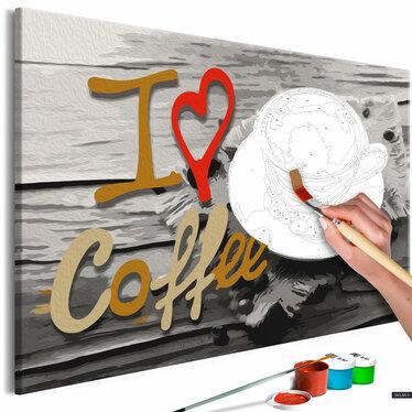 J'AIME LE CAFÉ Tableau à peindre soi-même