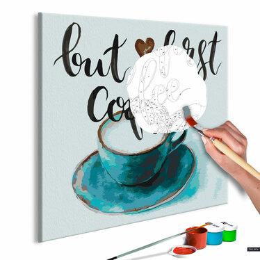 CAFÉ D'ABORD Tableau à peindre soi-même